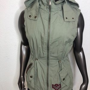 YMI Collection Hooded Utility zip vest Sz Small